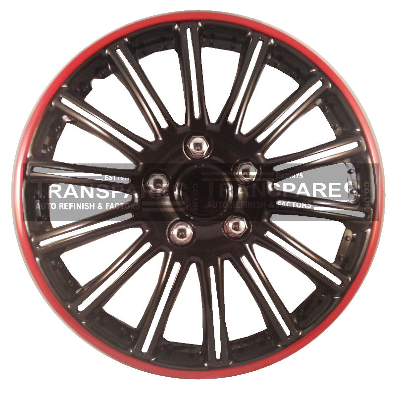 Stylish Sports Gloss black and Red Rim Wheel Trims 14""